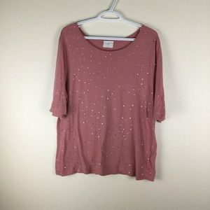 Anthropologie t.la Tee with gold polka dots. L
